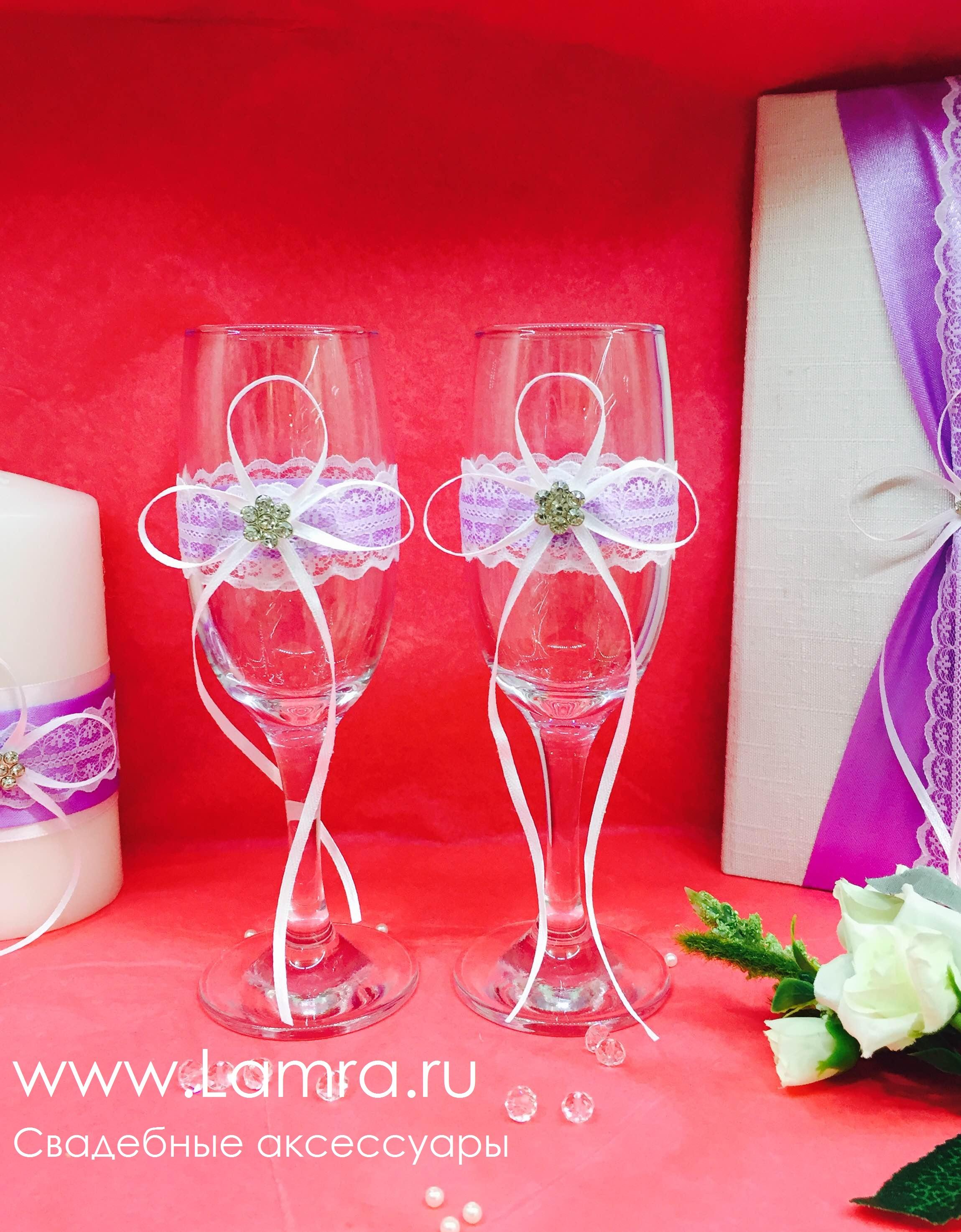 Как бокалы на свадьбу своими руками фото